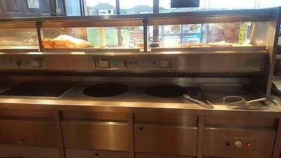 fish and chips 4 pan florigo frying range with counter- QUICK SALE