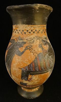 Ancient very fine Greek Attic oinochoe - finely painted figures.6th/5th c.BC