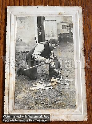 Vintage Antique Photograph Card Photo Man Splitting Wood  13.5 x 9cm
