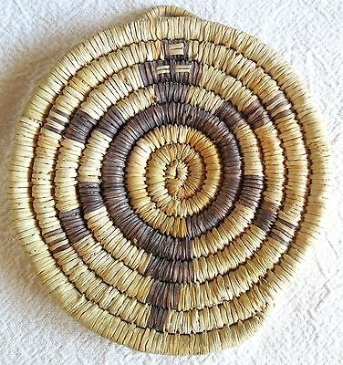 Vintage HOPI COILED TURTLE BASKET 5-Inch Basketry Plaque  FREE SHIPPING