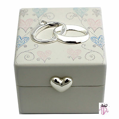 New Design Wedding Ring Box with Pastel Hearts on Lid Ring Pillow Bearer Box