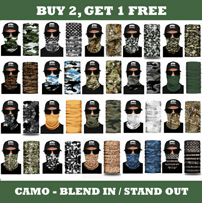 1 CAMO Face Mask Sun Shield Neck Gaiter Balaclava Neckerchief Bandana Headband