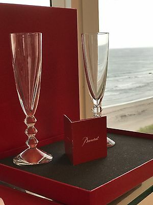 BACCARAT VEGA FLUTISSIMO TALL CHAMPAGNE Set of 2 NEW IN BOX with ORIGINAL tag