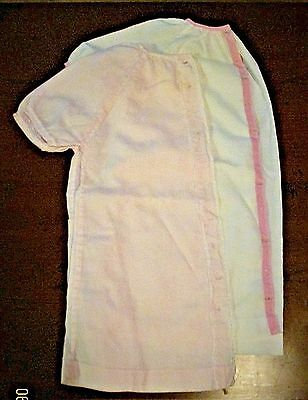2 Vintage Handmade Cotton Infant Gowns ~ Robes ~ White & Pink