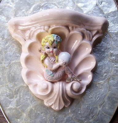Vintage Gorgeous Huge Chalkware Shell Shelf with Mermaid