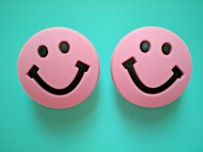 CLOG CHARM BUTTONS FIT KID ACCESSORIES WRISTBANDS SANDALS 2 Pink Smiley