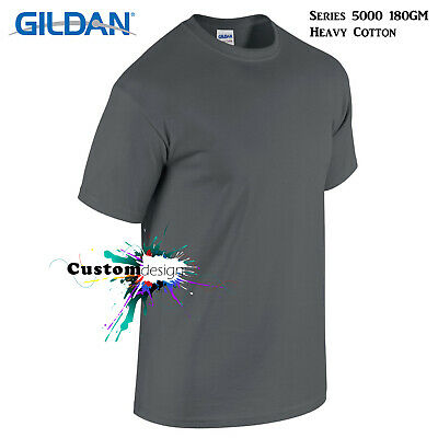 Gildan T-SHIRT Charcoal blank plain tee S M L XL 2XL XXL big Men's Heavy Cotton