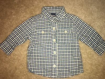 Baby Boys Size 12 Months Plaid Collared Button Up Long Sleeve Top Shirt Oshkosh