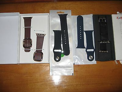 LOT of 4 38mm NEW FOR APPLE WATCH BANDS  2 Leather 2 Silicone