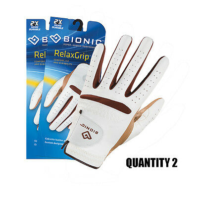 2 x Bionic Ladies Relax-Grip Golf Gloves with Leather Palm & Synthetic Back.