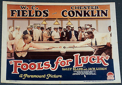 FOOLS FOR LUCK 11x14 TITLE CARD MOVIE POSTER! W.C. FIELDS BILLIARDS COMEDY!
