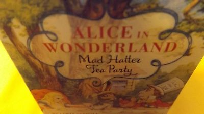 alice in wonderland/mad hatter mini tea party set and book.