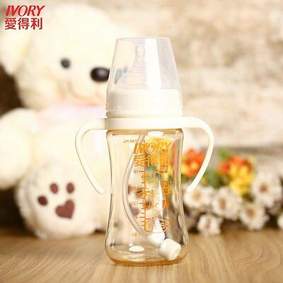 IVORY 240mL Durable Wide Caliber Safe PES Feeding Bottle With Straw/Handle G GT