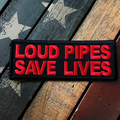 Red & Black Loud Pipes Save Lives Biker Patch