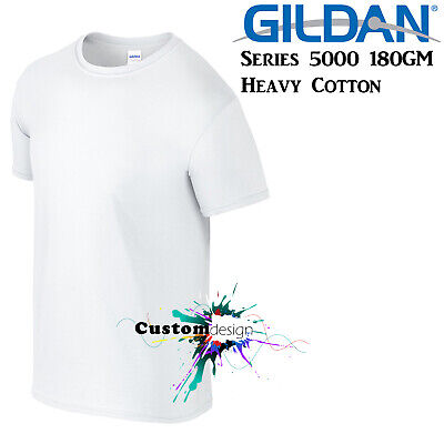 Gildan T-SHIRT White blank plain tee S M L XL 2XL XXL Men's Heavy Cotton Premium