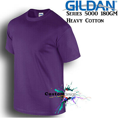 Gildan T-SHIRT Purple blank plain tee S M L XL 2XL XXL big Men's Heavy Cotton