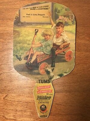 Vintage Tums Advertising Fan New Lisbon, Wisconsin Wi Paul A. Lyon, Druggist