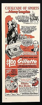 1952 Vintage Print Ad 1950s GILLETTE RAZOR BLADES Horse Racing Illustration