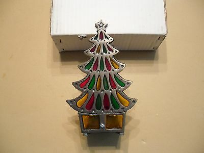Inarco Stained Glass Cast Iron Tree with Candle Holder