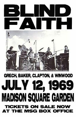 Blind Faith Replica Clapton/windwood  Concert Poster