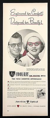1948 Vintage Print Ad 1940s COOL-RAY Sunglasses Eyewear Style Red Frames