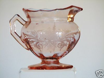 Cambridge Glass DECAGON Etch 710 Urn and Floral Pink Footed Creamer - Excellent!