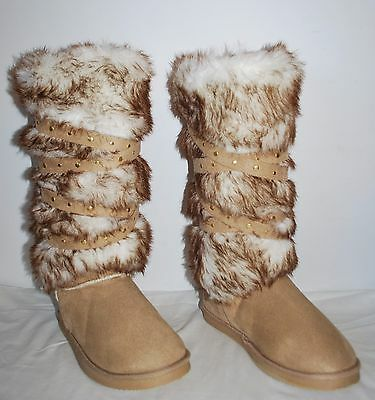 JustFab Grand Forks Faux Fur Boots Women's size 9 NEW