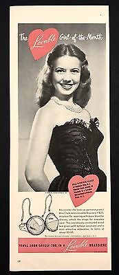 1948 Vintage Print Ad 1940s LOVABLE BRASSIERE Woman's Bra Fashion Style