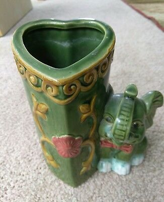 Lucky Elephant Trunk Up Pottery Heart-Shaped Planter / Vase Hand Painted At51-6