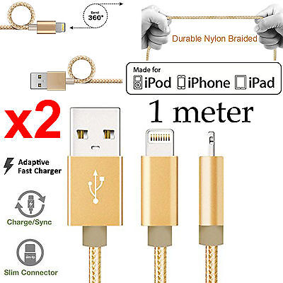 2 1m Apple iPhone 6 7 8 X XS Max XR iPad Pro Nylon lightning data charger cable