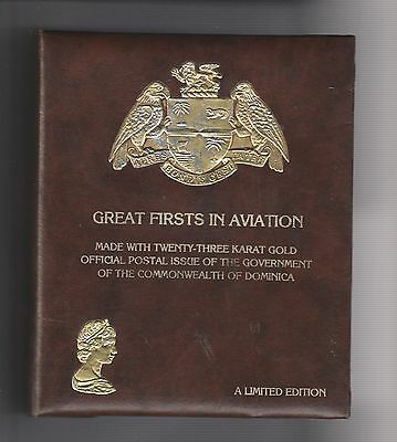 **GOOD CONDITION! GREAT FIRSTS IN AVIATION (30) 23Kt GOLD STAMPS FROM DOMINICA!!