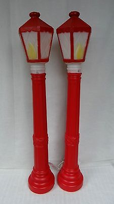 """2 Red Lamp Posts 40"""" Lighted Christmas Blow Mold Outdoor Yard Decor #C"""