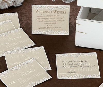 48 Wedding Wishes Cards Set (Alternative Guest Book / Wishing Well) Country Lace