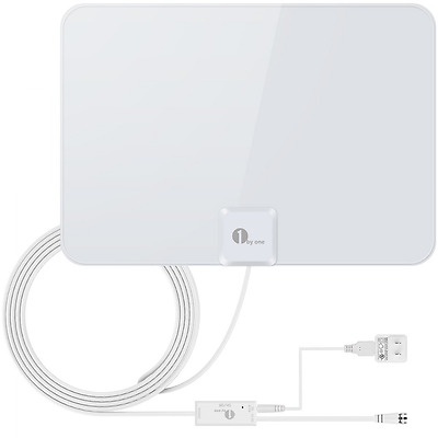 1byone 50 Miles Amplified HDTV Antenna with Detachable Amplifier Booster USB Pow