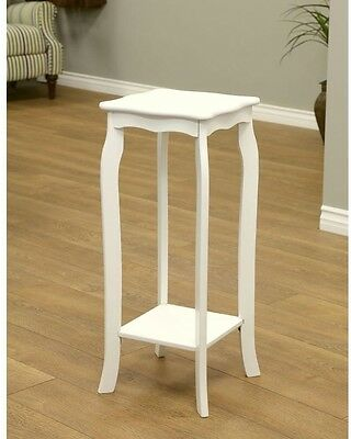 End Table Accent Indoor Plant Stand Flowers Phone Portable Furniture White Wood