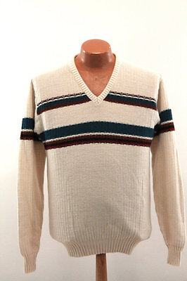 Vintage V-Neck Sweater : 70s Puritan Striped Wool Blend - Men's Large L Slim