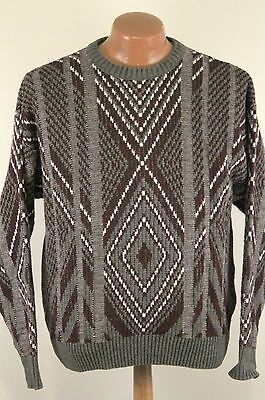 Vintage London Fog Abstract Sweater - Red White Crew Neck 80s - Men's Large L