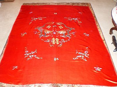 RARE Stunning Antique Chinese Red Silk Large Panel w/Embroidered Dragons & More