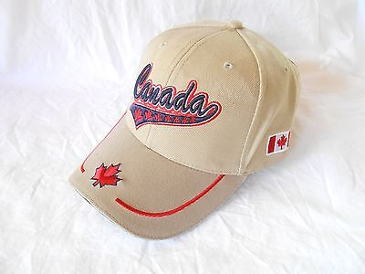 Canada Beise With Multiple Maple Leafs Adjustable Back Velcro Baseball cap