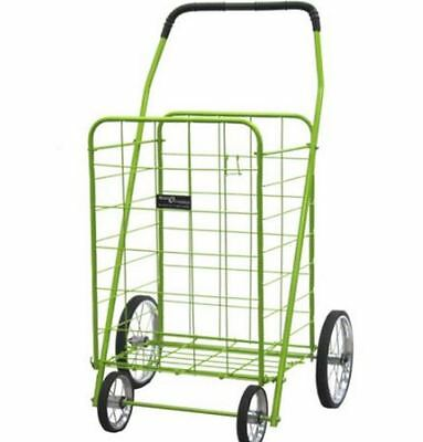 Folding Shopping Cart Jumbo Size Rolling Basket for Laundry Grocery Travel Green