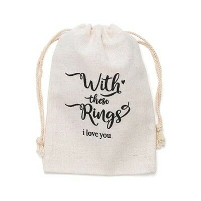 WEDDING RING BAG PROPOSAL ENGAGEMENET COTTON BAG WITH THESE RINGS I LOVE YOU box