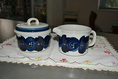 ARABIA of Finland ANEMONE BLUE Sugar Pot Covered Bowl and Jug/Creamer