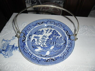 Blue Willow Cake Plate And Handle Bristol Ware Pountney @ C.l England