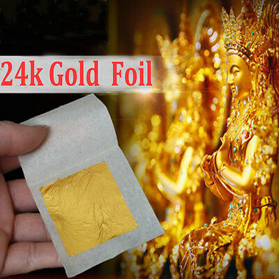 10x Real Gold Foil Leaf 99.99% Pure 24K Food Cake Decor Edible Face Beauty AC