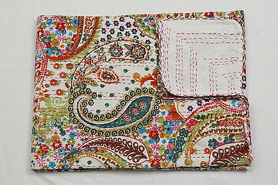 Wholesale Lot Kantha Twin Bed Cover Handmade Bed Sheet White Bedspread Quilt