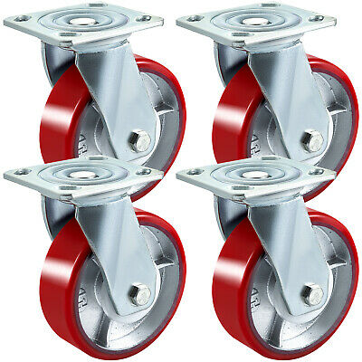 "Set of 4 Scaffolding Swivel Casters 8"" x 2"" Polyurethane 1100LBS Industrial"
