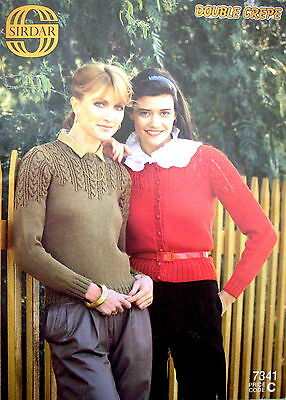 Sirdar Knitting Pattern Leaflet - LADY'S JUMPER & CARDIGAN -  Double Crepe - VGC