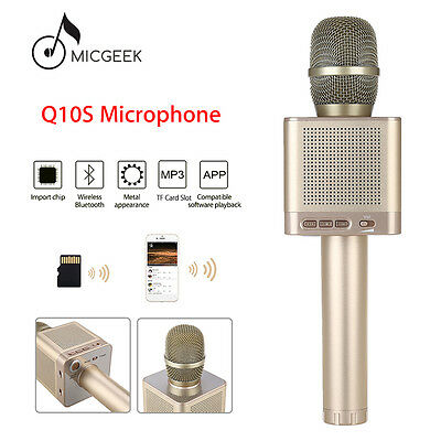 MicGeek Q10S Wireless Microphone Bluetooth Karaoke Gold Fr Android Ios PC Tablet