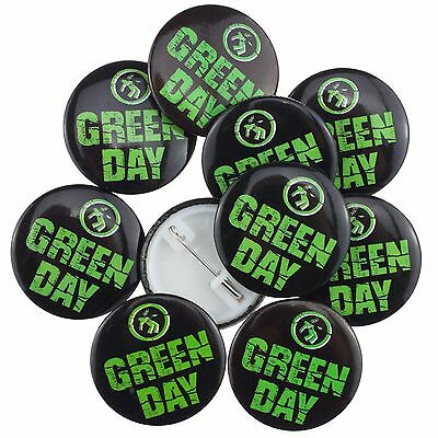 10 x Green Day Logo Black 38mm Badge's New Official Band Merch