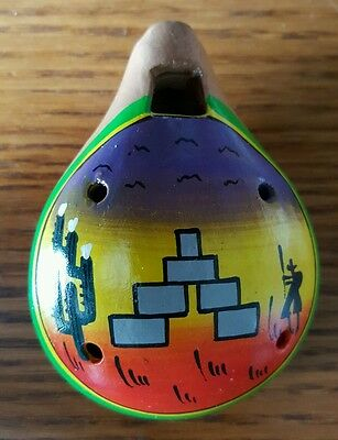 Peruvian Hand Painted Pottery Box Whistle